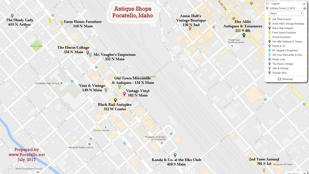 Pocatello.net Antique Shop Map