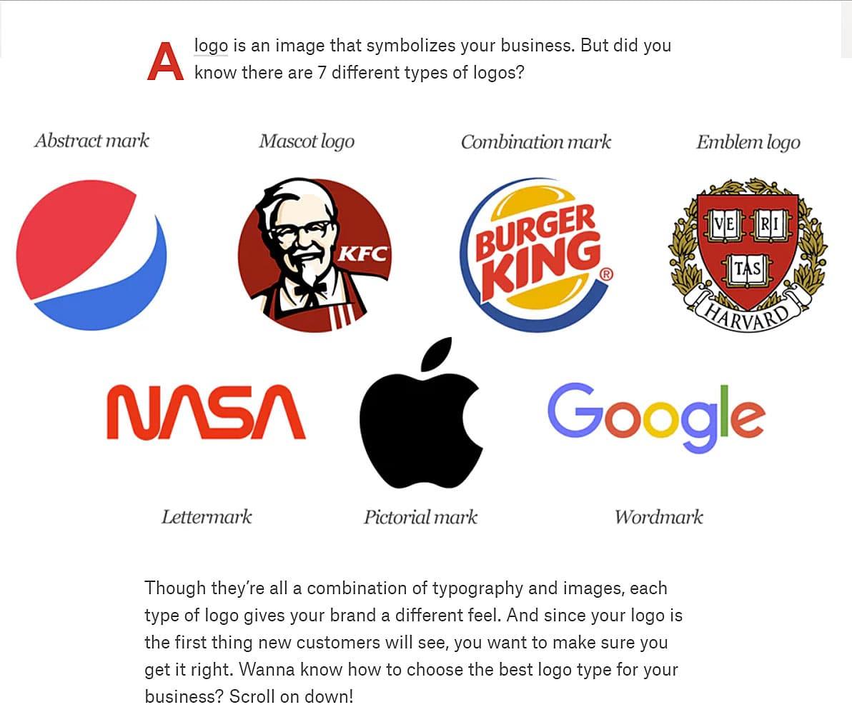 99designs.com/7 types of logos