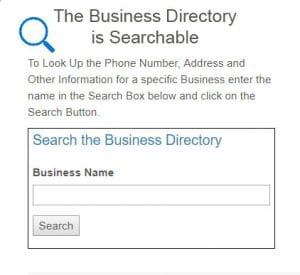 The Business Directory is Searchable